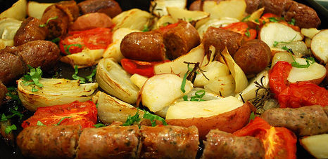 Grilled Sausage with Potatoes