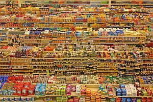 Grocery store shelves packe with food