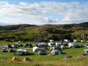 Camping site with RVs and tents