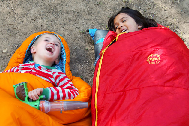 Happy Kids Inside Sleeping Bags