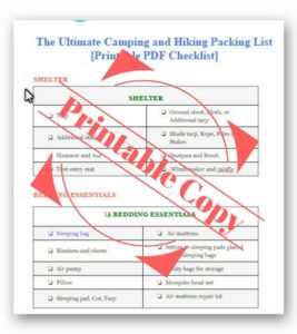 picture regarding Camping Food List Printable called The Final Tenting and Climbing Packing Record + [Printable
