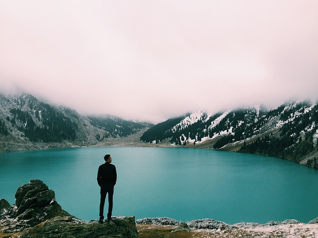 enjoying the relaxing view of the lake
